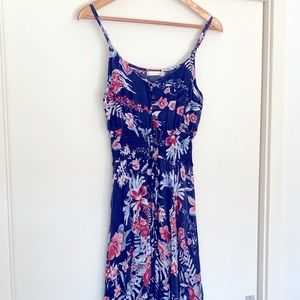 Floral Navy & Pink Maxi Dress with coconut Buttons
